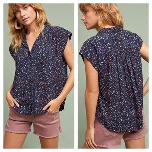 Anthropologie Maeve Paint Splatter Button-up Navy